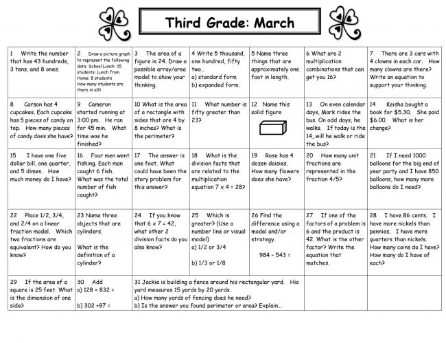 3rd Grade March Math Calendar