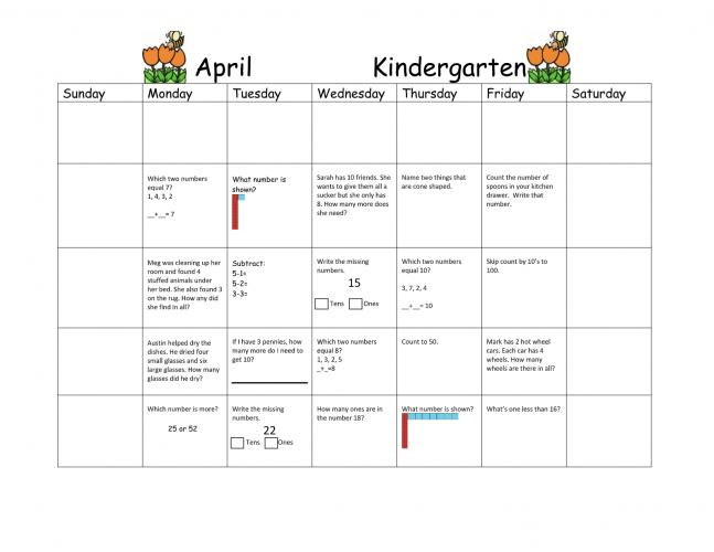 April Kindergarten Math Calendar