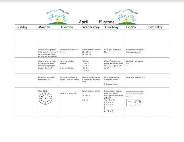 1st Grade Math Calendar