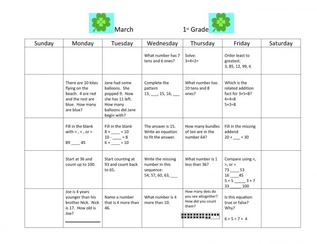 1st Grade March Math Calendar