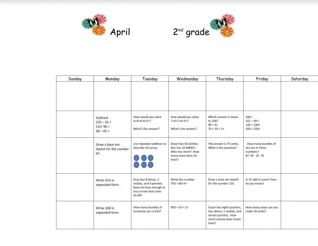 2nd Grade April Math Calendar